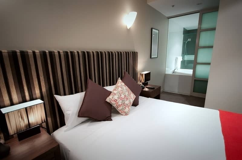 Hotel serviced apartments North Terrace Adelaide bedroom